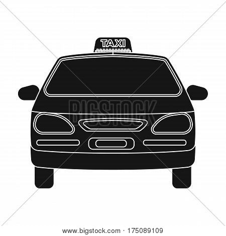 Yellow taxi car.Transport taxis for passengers. Taxi station single icon in black style vector symbol stock web illustration.