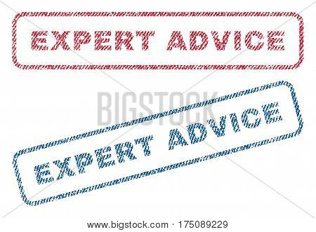 Expert Advice text textile seal stamp watermarks. Blue, red fabric vectorized texture. Vector tag inside rounded rectangular banner. Rubber emblem with fiber textile structure.