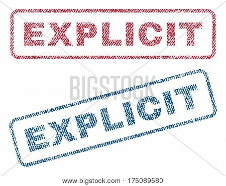 Explicit text textile seal stamp watermarks. Blue, red fabric vectorized texture. Vector tag inside rounded rectangular banner. Rubber sticker with fiber textile structure.
