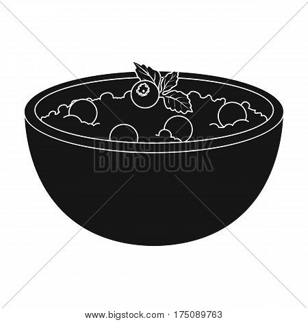 Delicious vegetarian porridge.Porridge for vegetarians blueberry.Vegetarian Dishes single icon in black style vector symbol stock web illustration.