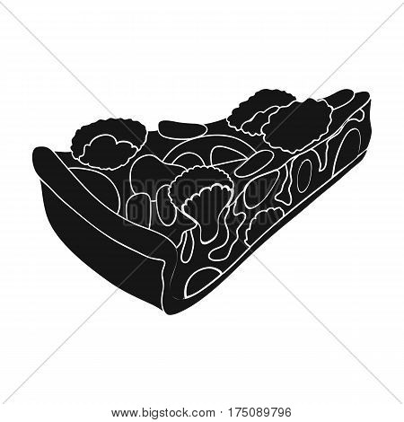 Vegetarian vegetable pie.Pie of vegetables without meat for vegetarians.Vegetarian Dishes single icon in black style vector symbol stock web illustration.