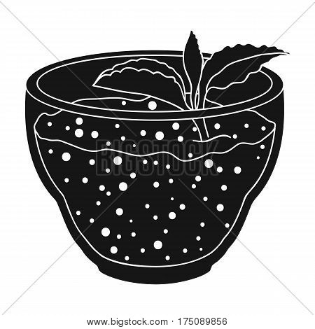 Fresh puree of greens with a mint leaf .Vegetarian Breakfast of greens.Vegetarian Dishes single icon in black style vector symbol stock web illustration.