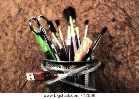 pencil holder with various graphic design related items.  blur and sketch effect. poster