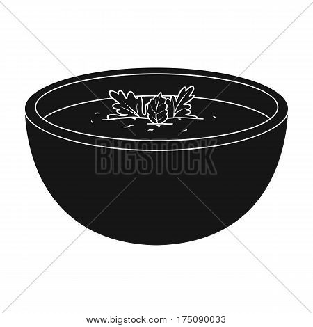 Porcelain tureen with the soup.Vegetarian soup-puree of pumpkin.Vegetarian Dishes single icon in black style vector symbol stock web illustration.