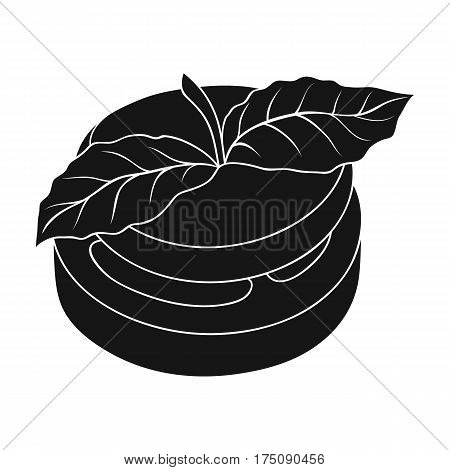 Sandwich vegetarian cuisine.Hamburger tomato and cheese with a leaf of mint.Vegetarian Dishes single icon in black style vector symbol stock web illustration.