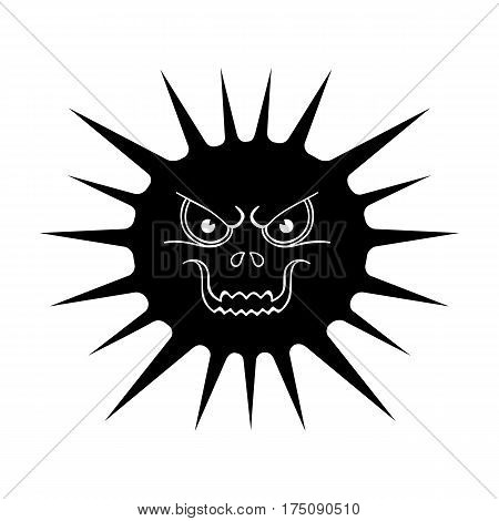 Gray virus icon in black design isolated on white background. Viruses and bacteries symbol stock vector illustration.