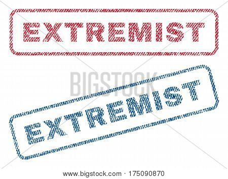 Extremist text textile seal stamp watermarks. Blue, red fabric vectorized texture. Vector tag inside rounded rectangular shape. Rubber sticker with fiber textile structure.