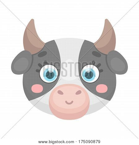 Cow muzzle icon in cartoon design isolated on white background. Animal muzzle symbol stock vector illustration.