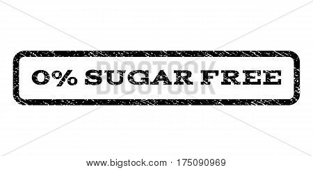 0 Percent Sugar Free watermark stamp. Text caption inside rounded rectangle with grunge design style. Rubber seal stamp with dust texture. Vector black ink imprint on a white background.