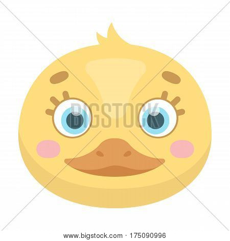 Duck muzzle icon in cartoon design isolated on white background. Animal muzzle symbol stock vector illustration.