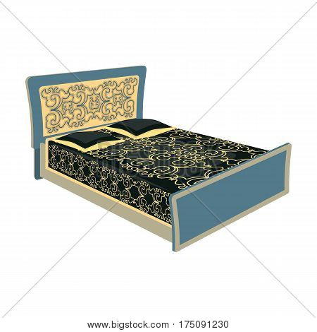 Blue family bed.Bed with black painted covers and pillows.Bed single icon in cartoon style vector symbol stock web illustration.