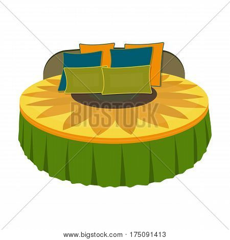 Unusual round bed.Bed with cushions in the form of a yellow flower.Bed single icon in cartoon style vector symbol stock web illustration.
