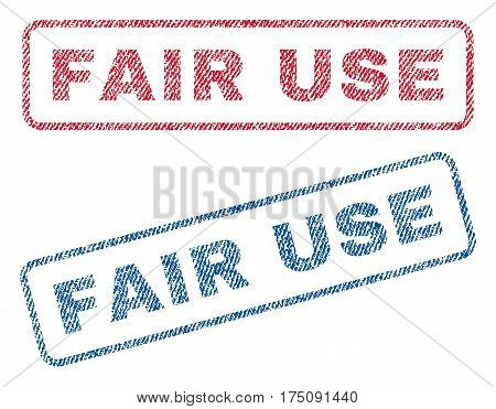 Fair Use text textile seal stamp watermarks. Blue, red fabric vectorized texture. Vector tag inside rounded rectangular shape. Rubber sticker with fiber textile structure.