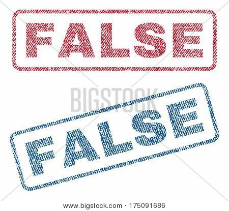 False text textile seal stamp watermarks. Blue, red fabric vectorized texture. Vector tag inside rounded rectangular banner. Rubber sticker with fiber textile structure.