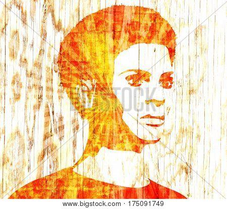 Face profile view. Elegant silhouette of a female head. Short hair. Monochrome gamma. Concrete textured.