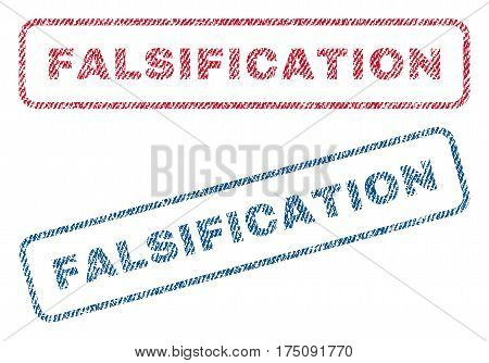 Falsification text textile seal stamp watermarks. Blue, red fabric vectorized texture. Vector caption inside rounded rectangular shape. Rubber sticker with fiber textile structure.