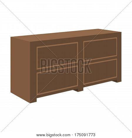 Brown bedside table with drawers.Nightstand next to the bed.Bedroom furniture single icon in cartoon style vector symbol stock web illustration.