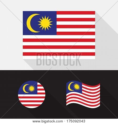 Set of Malaysia flag flat design isolated symbol with long shadow vector illustration
