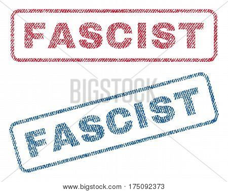 Fascist text textile seal stamp watermarks. Blue, red fabric vectorized texture. Vector caption inside rounded rectangular shape. Rubber emblem with fiber textile structure.