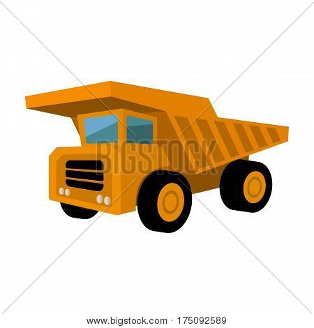 Yellow dump truck with black wheels.The vehicle used for transportation of minerals at the mine.Mine Industry single icon in cartoon style vector symbol stock web illustration.
