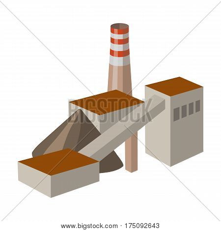 The plant with the pipe.Factory on processing of minerals from the mine.Mine Industry single icon in cartoon style vector symbol stock web illustration.
