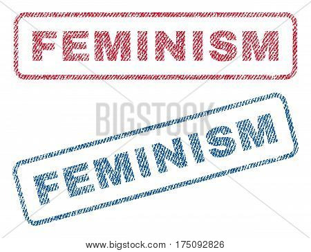 Feminism text textile seal stamp watermarks. Blue, red fabric vectorized texture. Vector tag inside rounded rectangular banner. Rubber sticker with fiber textile structure.