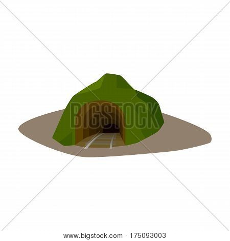 The entrance to the mine covered with grass. The place where the mine cars fall.Mine Industry single icon in cartoon style vector symbol stock web illustration.