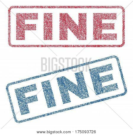 Fine text textile seal stamp watermarks. Blue, red fabric vectorized texture. Vector tag inside rounded rectangular banner. Rubber emblem with fiber textile structure.