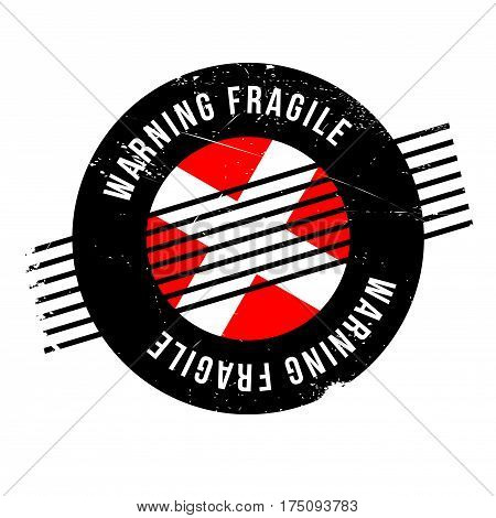 Warning Fragile rubber stamp. Grunge design with dust scratches. Effects can be easily removed for a clean, crisp look. Color is easily changed.