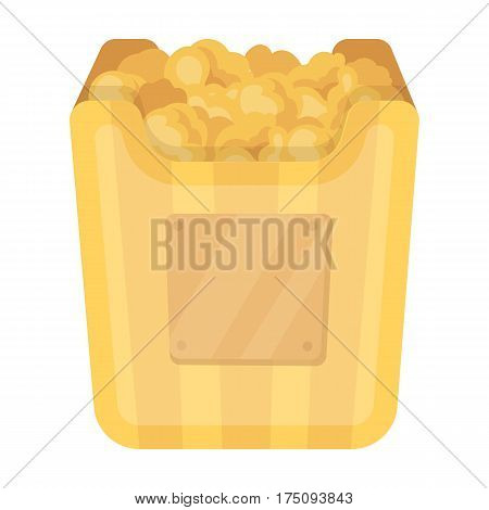 Cup in the form of Golden popcorn.The prize of spectator sympathies.Movie awards single icon in cartoon style vector symbol stock web illustration.