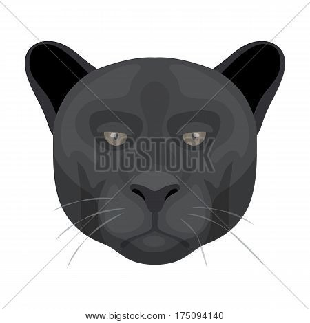 Black panther icon in cartoon design isolated on white background. Realistic animals symbol stock vector illustration.