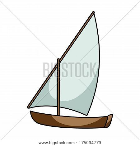 Little river sailing for fun.The boat which sails through the wind.Ship and water transport single icon in cartoon style vector symbol stock web illustration.