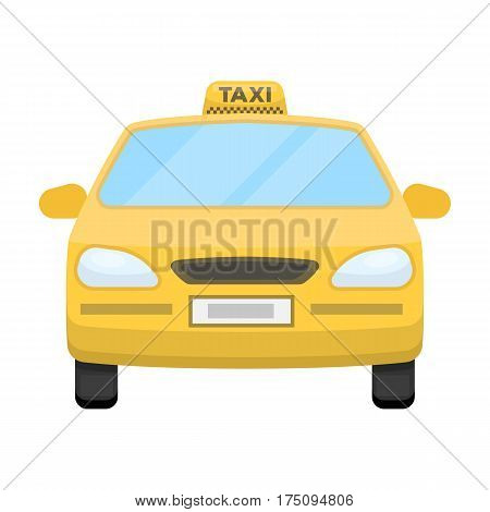 Yellow taxi car.Transport taxis for passengers. Taxi station single icon in cartoon style vector symbol stock web illustration.