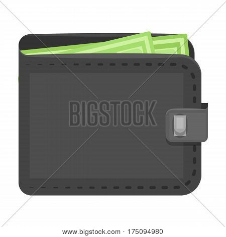 Black leather purse with money dollar. Taxi payment means. Taxi station single icon in cartoon style vector symbol stock web illustration.