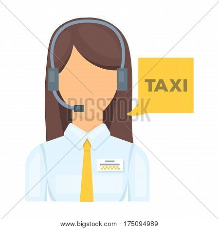 Girl in a white shirt with headphones.Call centre manager takes a taxi booking. Taxi station single icon in cartoon style vector symbol stock web illustration.
