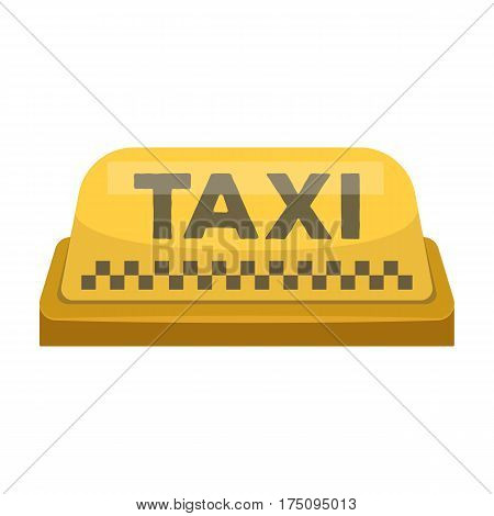 Yellow checker taxi with logo.Equipment taxi station for identification car. Taxi station single icon in cartoon style vector symbol stock web illustration.