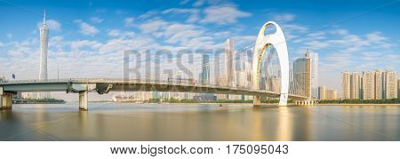 Panorama views modern bridge in Zhujiang River and modern building of financial district in guangzhou city China