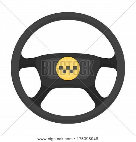 Black wheel with yellow emblem of taxi. The element to control the taxi car. Taxi station single icon in cartoon style vector symbol stock web illustration