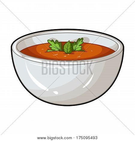 Porcelain tureen with the soup.Vegetarian soup-puree of pumpkin.Vegetarian Dishes single icon in cartoon style vector symbol stock web illustration.