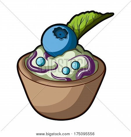 Vegetarian dessert. For vegetarians ice cream in a chocolate Cup and blueberry.Vegetarian Dishes single icon in cartoon style vector symbol stock web illustration.