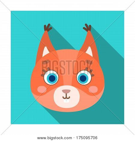 Squirrel muzzle icon in flat design isolated on white background. Animal muzzle symbol stock vector illustration.