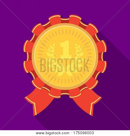 The award for first place.Gold medal with the red ribbon of the winner Olympics.Awards and trophies single icon in flat style vector symbol stock web illustration.
