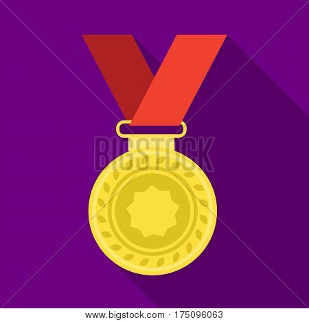 Silver medal on a red ribbon.The award for second place in the competition .Awards and trophies single icon in flat style vector symbol stock web illustration.