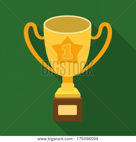 Gold Cup of the winner on a wooden stand with the inscription.The reward for first place.Awards and trophies single icon in flat style vector symbol stock web illustration.