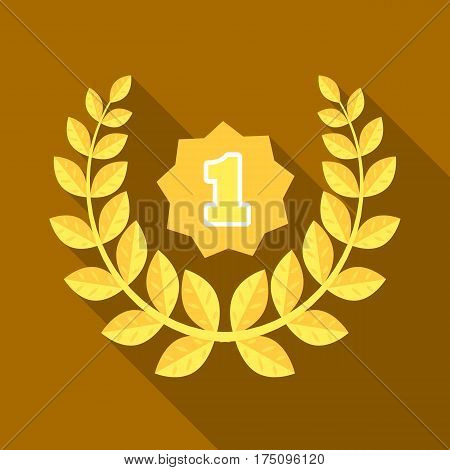 A Golden wreath from the metal.The reward for first place.Awards and trophies single icon in flat style vector symbol stock web illustration.