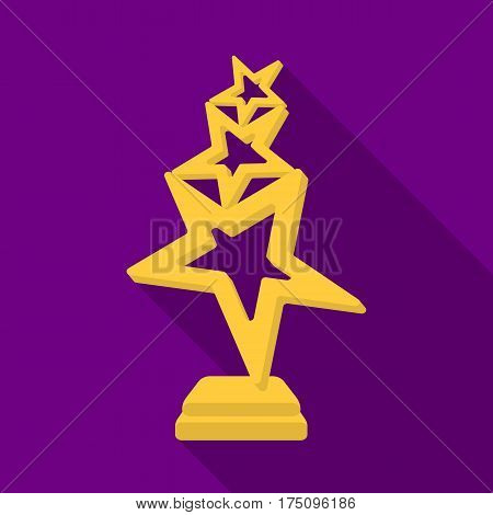 The reward in the form of gold stars on a stand. The award winner of the singing contest.Awards and trophies single icon in flat style vector symbol stock web illustration.