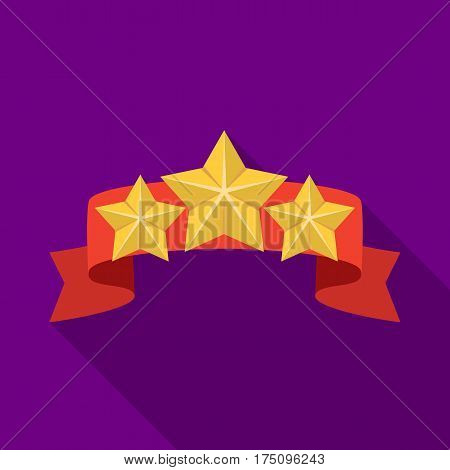 Red ribbon with three stars.Reward a police officer for detention of the criminal.Awards and trophies single icon in flat style vector symbol stock web illustration.