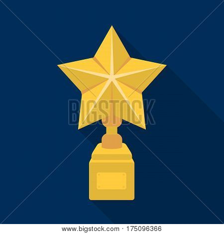 Gold prize in the shape of a star on a stand.The statue in the first place.Awards and trophies single icon in flat style vector symbol stock web illustration.