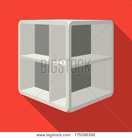 Small room coffee table.White table with cells.Bedroom furniture single icon in flat style vector symbol stock web illustration.
