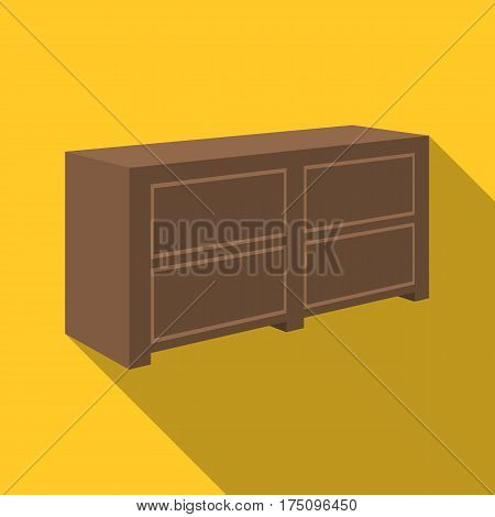 Brown bedside table with drawers.Nightstand next to the bed.Bedroom furniture single icon in flat style vector symbol stock web illustration.
